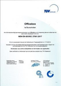 OfficeBox ISO 27001 Certificaat